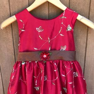 Girls Red Floral Embroidered Pageant Formal Dress